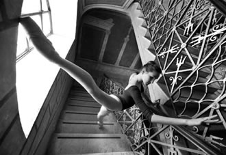 Dancer inside architecture